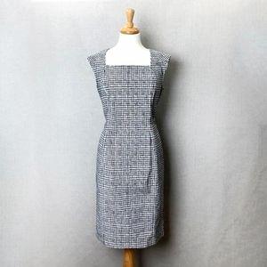 LAFAYETTE 148 Window Pane Black White Sheath Dress